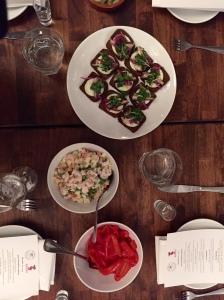 """Bay Shrimp """"Olivier"""", Assorted Pickles, Baltic Sprats."""