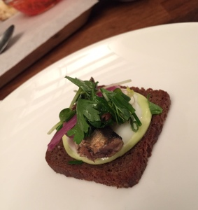 I love smokey little fish- This Baltic Sprat with parsley mayo and pumpernickel toast was delicious.