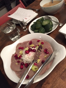 Veal Tongue with daikon radish, pickled cranberries, horseradish cream.